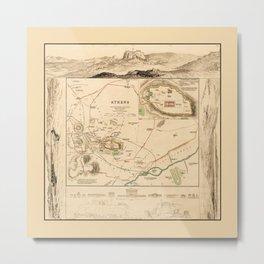 Map of Athens 1832 Metal Print