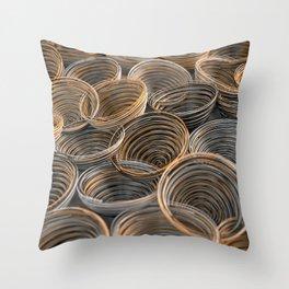 Black, white and orange spiraled coils Throw Pillow