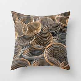 Black, white and orange spiraled coils Throw Pillow
