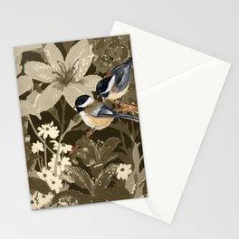 Bird-Chickadees with Lillies Stationery Cards