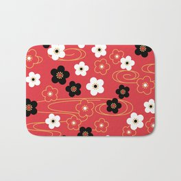 Red Sakura Kimono Pattern Bath Mat