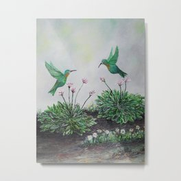 Hummingbirds and Hostas Metal Print