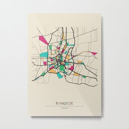 Colorful City Maps: Bangkok, Thailand Metal Print