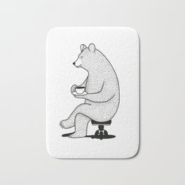bear drinking tea Bath Mat