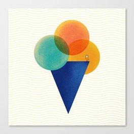 045 Ice cream sitting on the beach Canvas Print