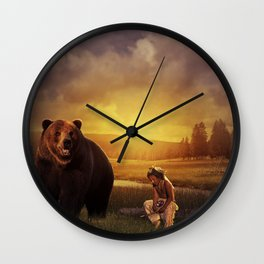 Native american boy and the bear Wall Clock