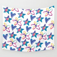 girly Wall Tapestries featuring Girly by mariorigami
