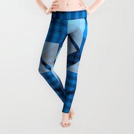 Abstract Geometric Blue Plaid Design Leggings