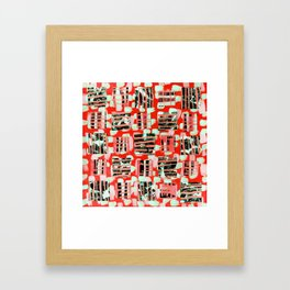 Soft Squares in Sweet Red Framed Art Print
