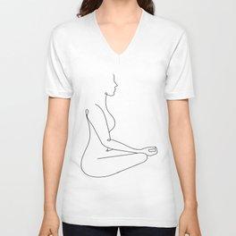 Zen body line art black white modern contemporary art illustration Unisex V-Neck