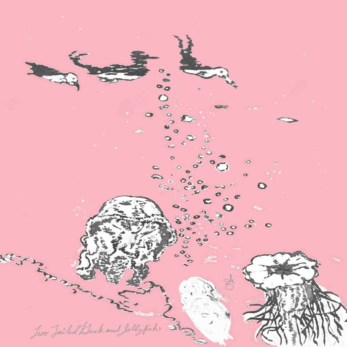 Two Tailed Duck and Jellyfish Baby Pink Deep Duvet Cover