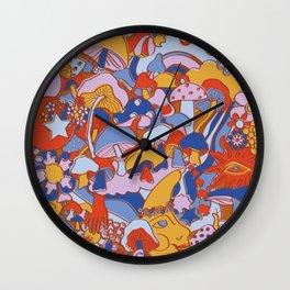 Magical Mushroom World in Mod Rust Wall Clock