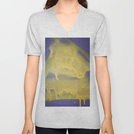 Yellow graffiti stain on gray background ready for picture, clothes, furniture, iphone cases Unisex V-Neck