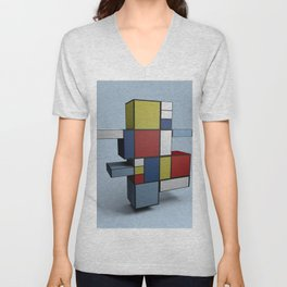 Composition with Red Blue and Yellow Unisex V-Neck