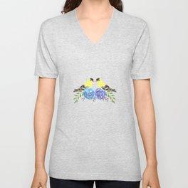 American goldfinch on roses Unisex V-Neck