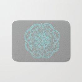 Mint Gray Romantic Flower Mandala #4 #drawing #decor #art #society6 Bath Mat