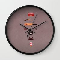shaun of the dead Wall Clocks featuring Shaun of the Dead by avoid peril