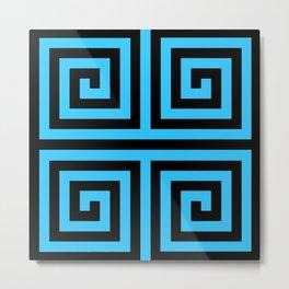 Graphic Geometric Pattern Minimal 2 Tone Zig-Zag Swirl (Blue Teal & Black) Metal Print