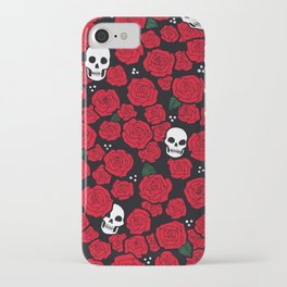 Skulls and Roses Pattern iPhone Case