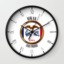 Iowa Proud Flag Button Wall Clock
