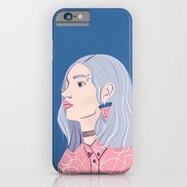 Silver Haired Girl in a Pink Shirt iPhone Case
