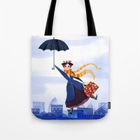 mary poppins Tote Bags featuring Mary Poppins by giovanamedeiros