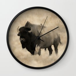 American Buffalo  -  Plains Bison Wall Clock