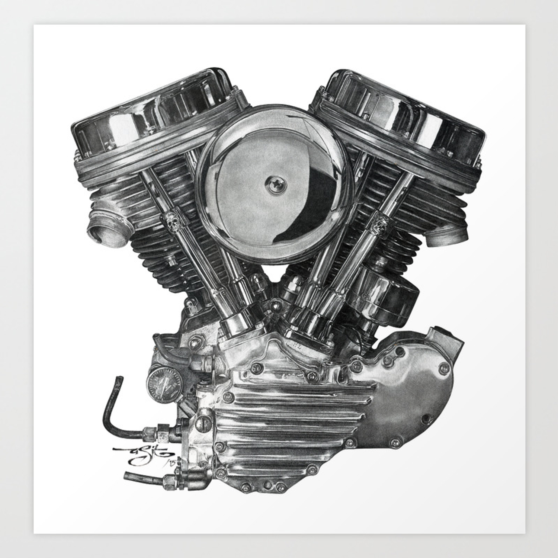 Panhead engine pencil drawing art print