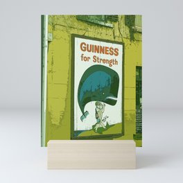 Guinness beer art print - 'Guinness for strength' vintage sign in green - vintage beer poster Mini Art Print