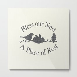 Bless our Nest A Place of Rest Birds on a Branch Shabby Chic Metal Print