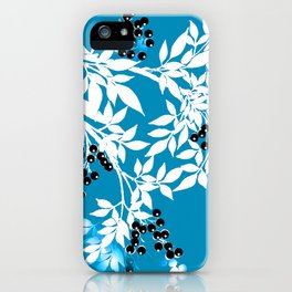 TREE BRANCHES BLUE AND WHITE WITH BLACK BERRIES TOILE iPhone Case