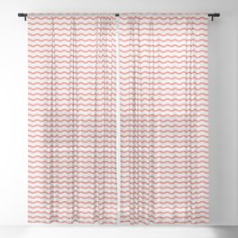 Waves with Tiny Boat ~ coral red Sheer Curtain