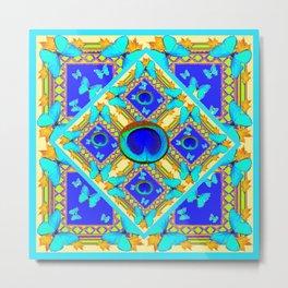 Blue Art Nouveau Turquoise Butterfly Designs Metal Print