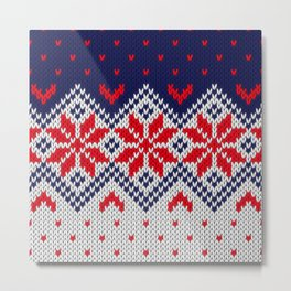 Winter knitted pattern 11 Metal Print