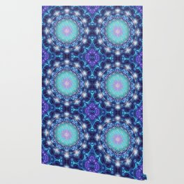Flower Of Life Mandala Fractal turquoise Wallpaper