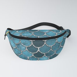 Turquoise Silver Mermaid Scales Fanny Pack