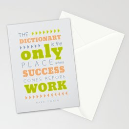 Work Before Success - Mark Twain Quote Stationery Cards