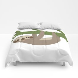 Three-toed sloth on green branch Comforters