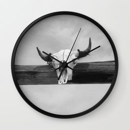 Bull Head Black and White Wall Clock