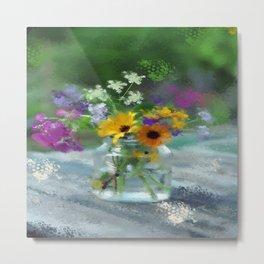 Wild Flower Jar Metal Print