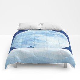 Full moon & paper boat Comforters