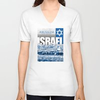israel V-neck T-shirts featuring Jerusalem, Israel by politics