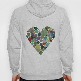 Green dots heart Hoody