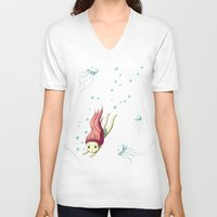 diver V-neck T-shirts featuring Diver by Freeminds