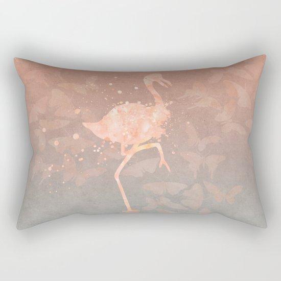 Flamingo Butterfly watercolor pastel grey apricot color artwork Rectangular Pillow