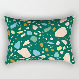 Terrazzo Stone Pink Coral Green Abstract Tile Pattern Rectangular Pillow