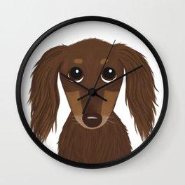 Longhaired Chocolate Dachshund Wall Clock