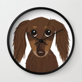 Cute Dog - Longhaired Chocolate Dachshund Cartoon Wiener Dog Wall Clock