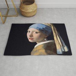 Vermeer, Girl with a Pearl Earring,Meisje met de parel,La joven de la perla Rug
