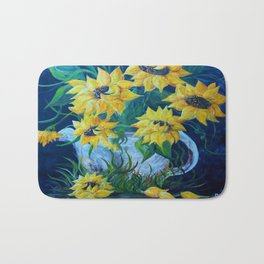 Sunflowers in a Country Pot Bath Mat